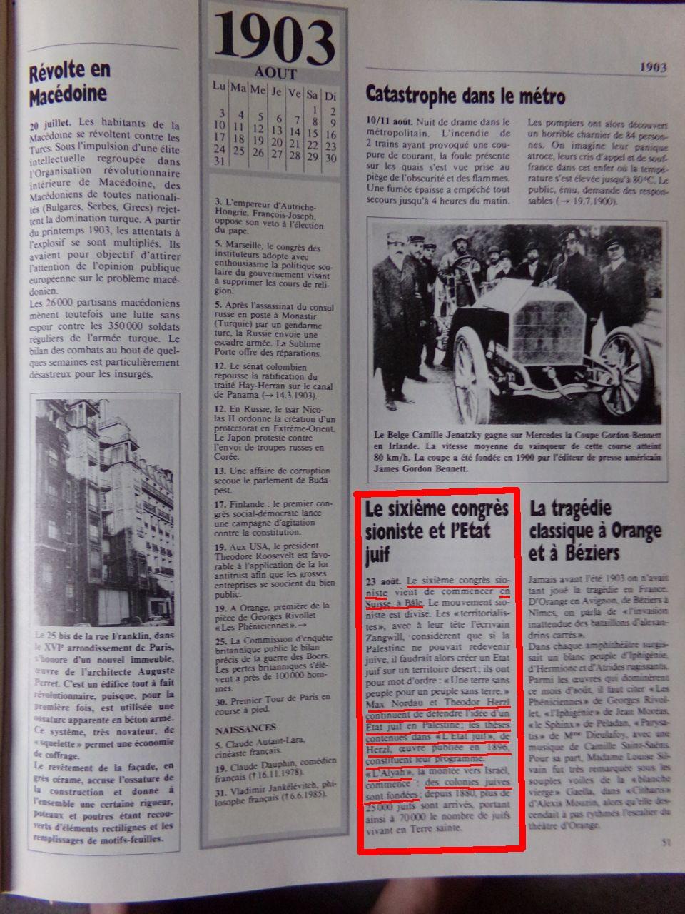Un peu d'Histoire ...  L'origine de la création de l'état d'israël, 1947 ou 19° siècle ?  Chroniquedu20esiecle-03
