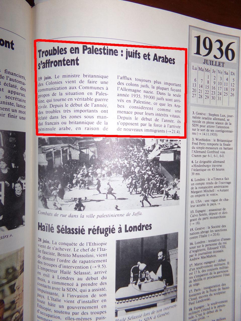 Un peu d'Histoire ...  L'origine de la création de l'état d'israël, 1947 ou 19° siècle ?  Chroniquedu20esiecle-14