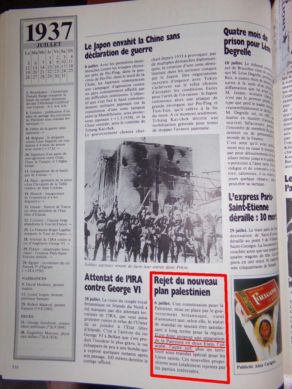 Un peu d'Histoire ...  L'origine de la création de l'état d'israël, 1947 ou 19° siècle ?  Chroniquedu20esiecle-15