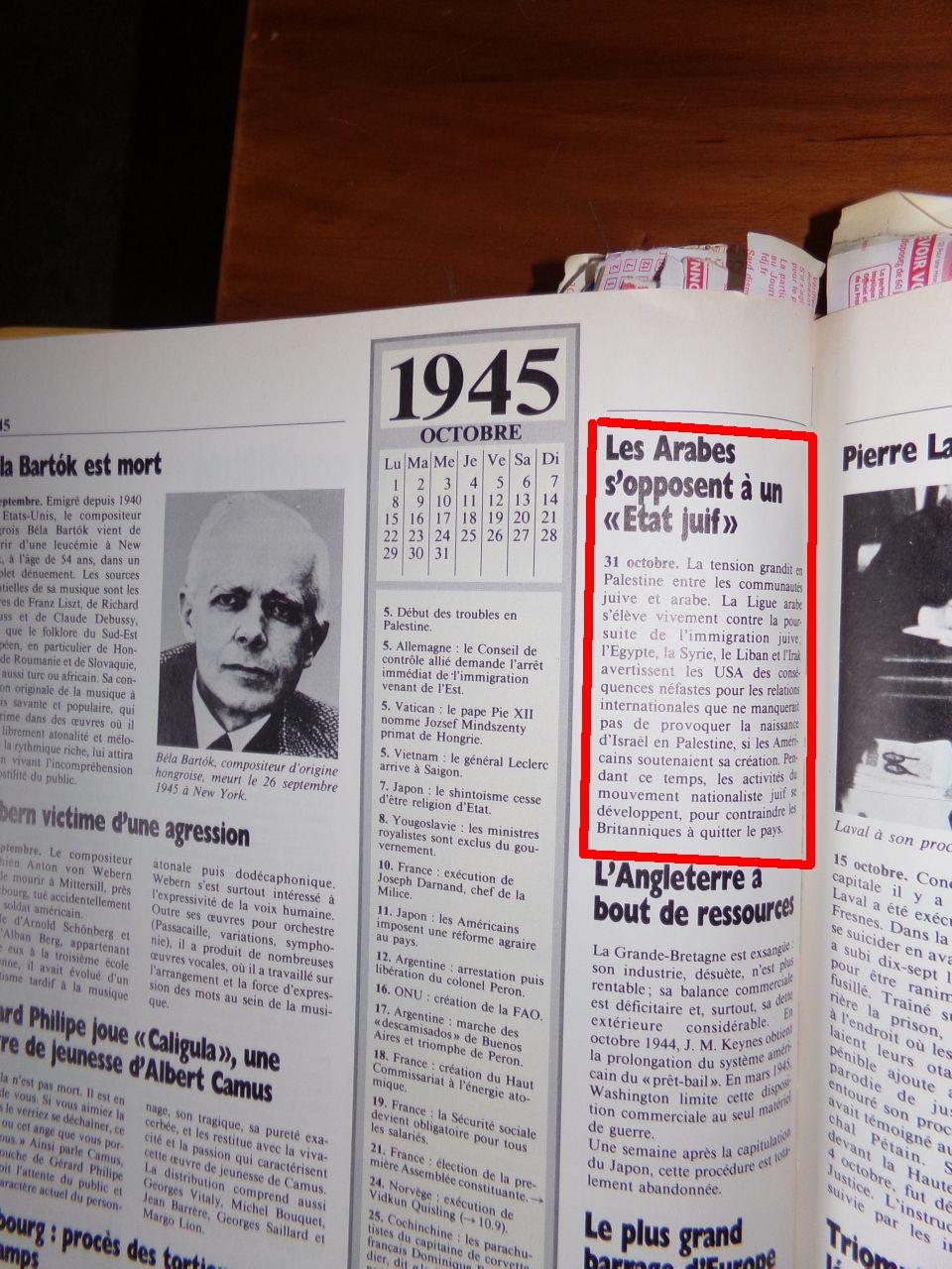 Un peu d'Histoire ...  L'origine de la création de l'état d'israël, 1947 ou 19° siècle ?  Chroniquedu20esiecle-21