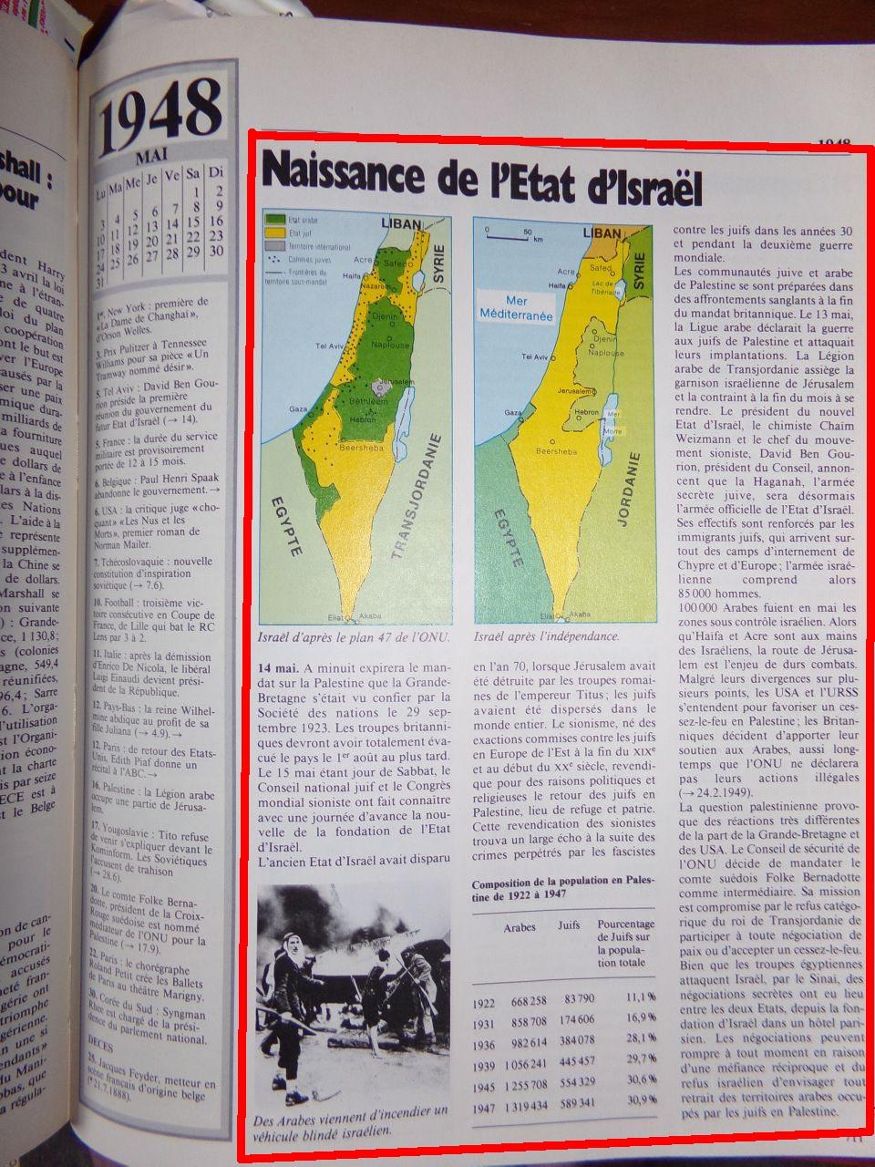 Un peu d'Histoire ...  L'origine de la création de l'état d'israël, 1947 ou 19° siècle ?  Chroniquedu20esiecle-23